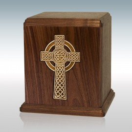 Walnut Celtic Cross Inlay - Wood Cremation Urn