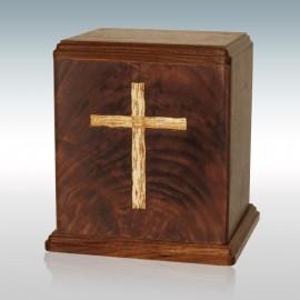 Walnut Cross Inlay - Wood Cremation Urn