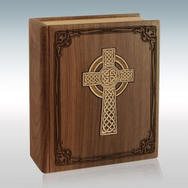 Walnut Book with Celtic Cross Inlay - Wood Cremation Urn
