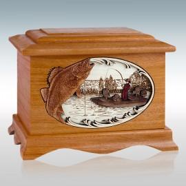 Mahogany Walleye Fishing Boat Ambassador - Wood Cremation Urn