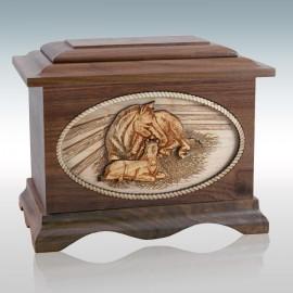 Walnut Horses Ambassador - Wood Cremation Urn