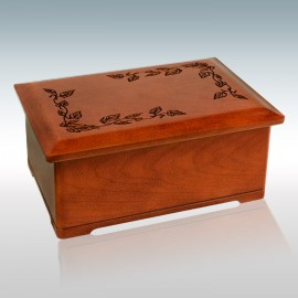 Cherry Autumn Leaves - Wood Cremation Urn