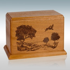 Mahogany Road Home Geese - Wood Cremation Urn