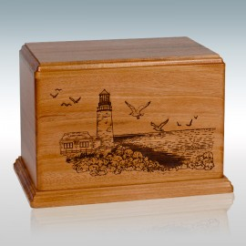 Mahogany Lighthouse - Wood Cremation Urn