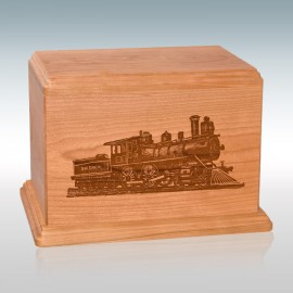 Natural Cherry Train - Wood Cremation Urn