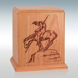Natural Cherry End of the Trail -Wood Cremation Urn